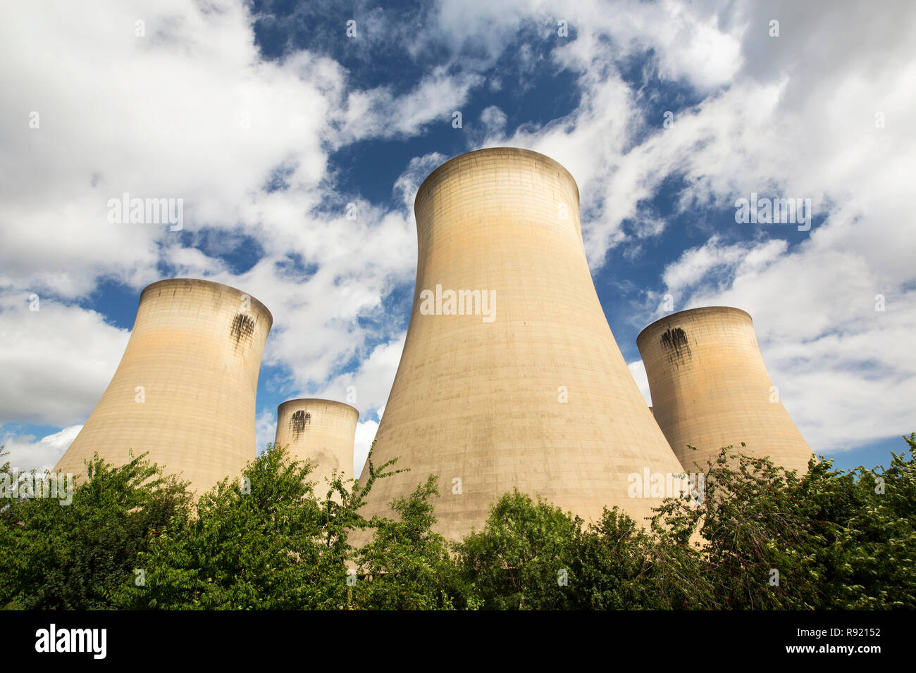 Drax power station in Yorkshire, UK, is the largest emitter of C02 in Europe. They are currently converting the power station to burn a percentage of biofuel as well as coal. Most of the wood is sourced from the US, with much of it coming from virgin forest, not exactly an environmentally friendly move. Stock Photo
