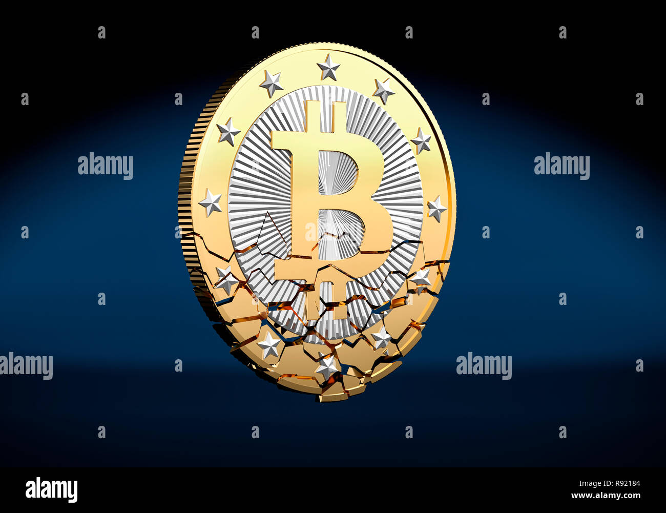 Bitcoin shattered Stock Photo