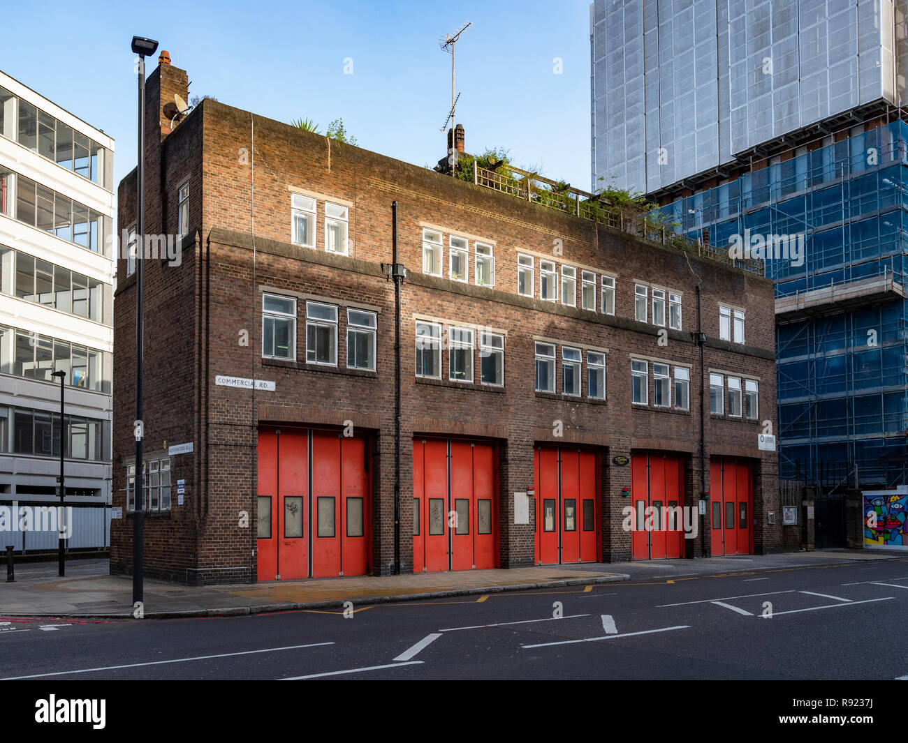 Commercial Road London FIre Brigade Station, built in 1929-32 and rare in that it is still in use today and largely original except for the doors - Stock Image