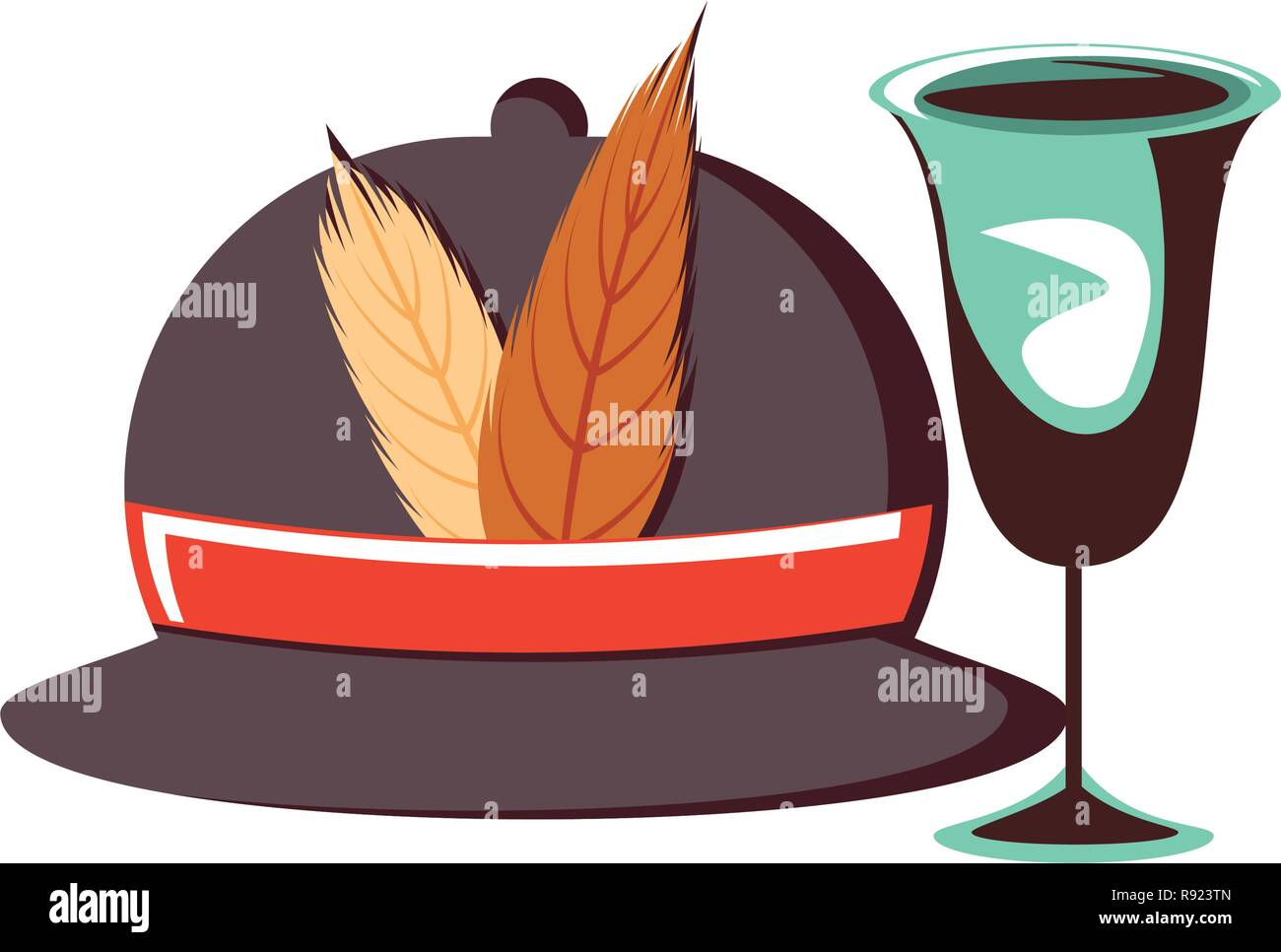 hunter hat with cup isolated icon vector illustration design - Stock Image