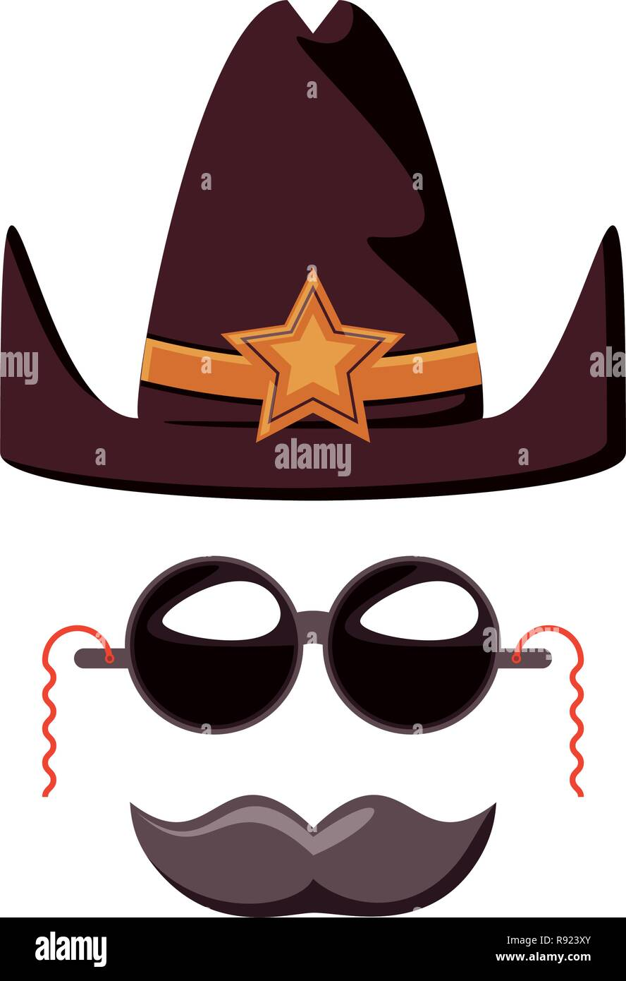a36652dd sherif hat with sunglasses and mustache vector illustration design - Stock  Vector