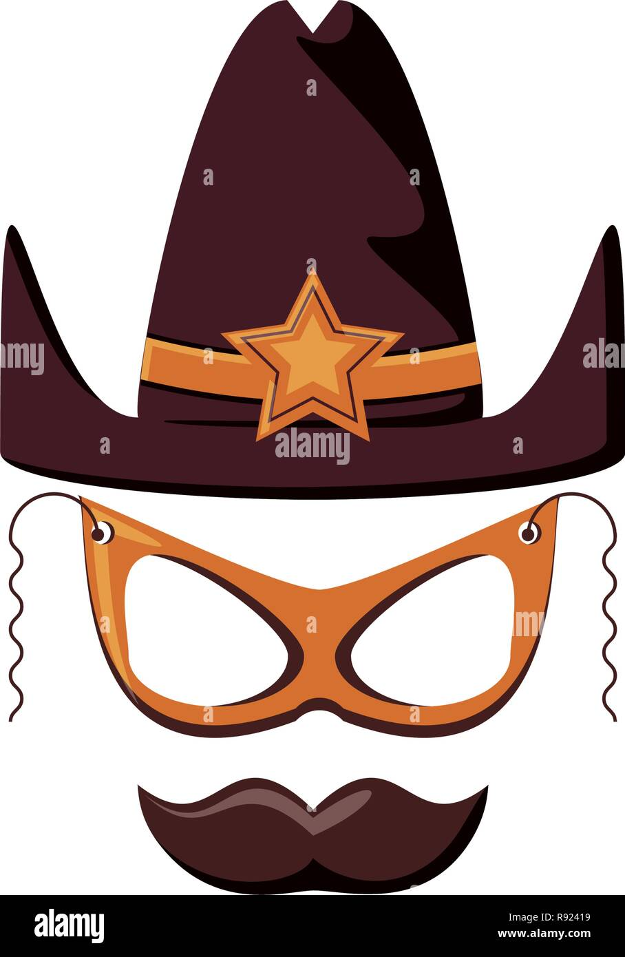 1f63f687 sherif hat with mask and mustache vector illustration design - Stock Vector
