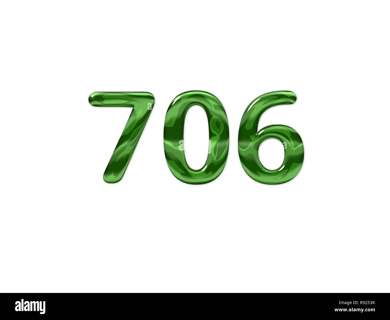 Green Number 706 isolated white background - Stock Image