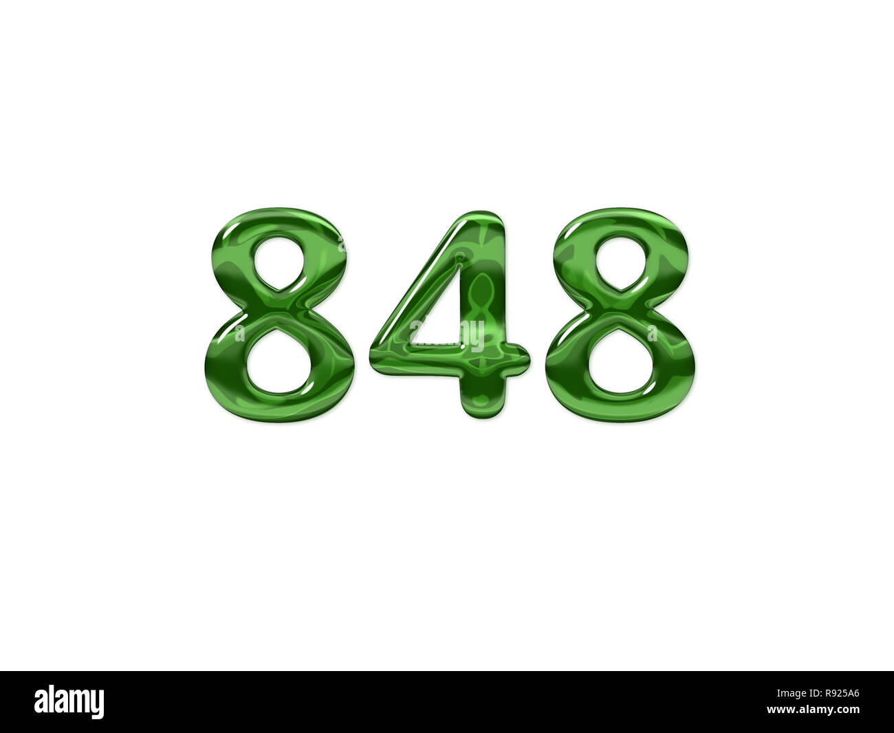 Green Number 848 isolated white background Stock Photo