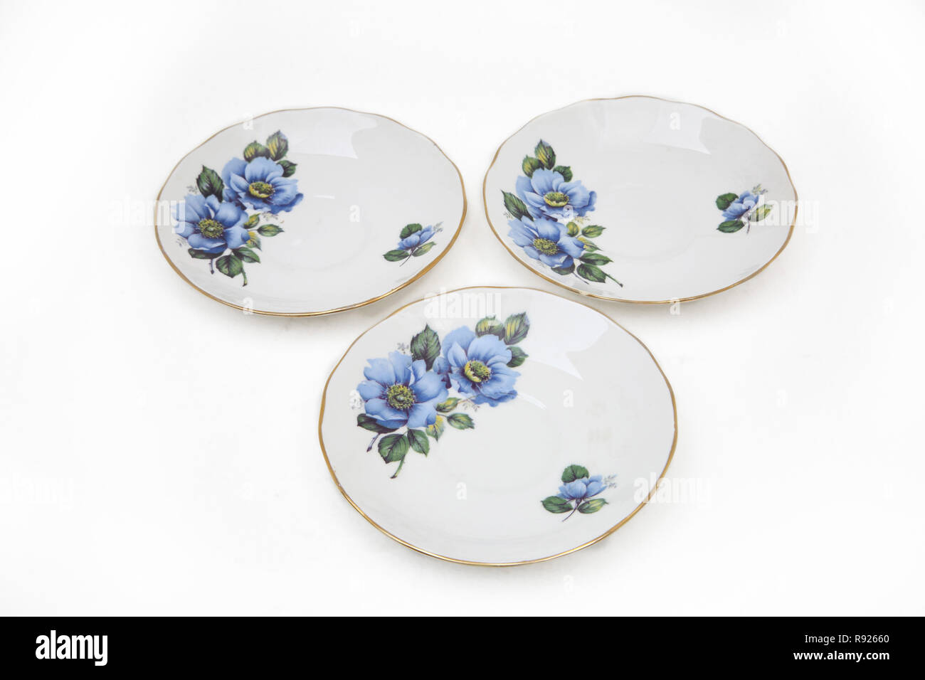 Gainsborough Bone China Saucers With Floral Design - Stock Image