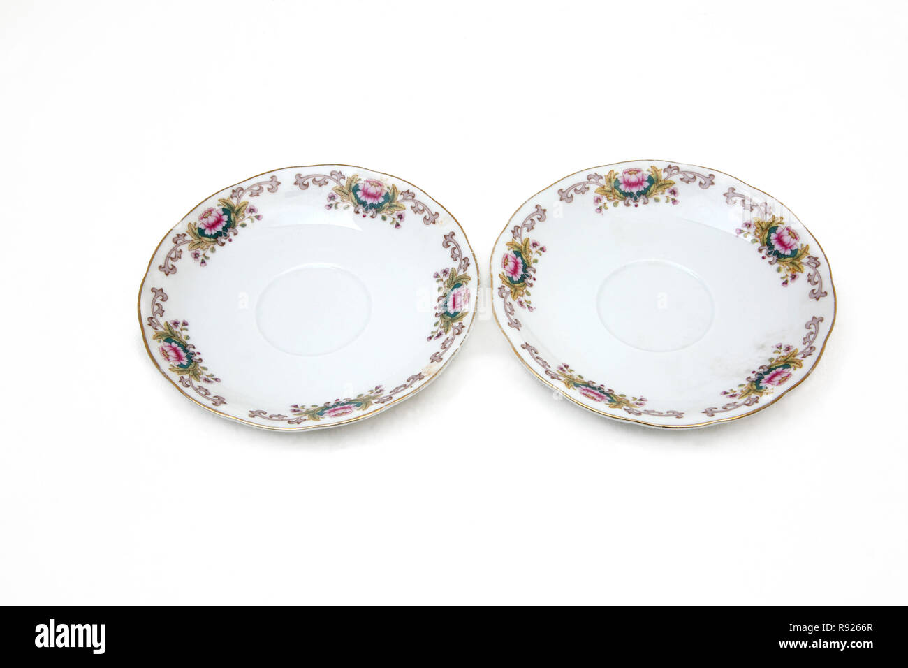 Two China Saucers - Stock Image