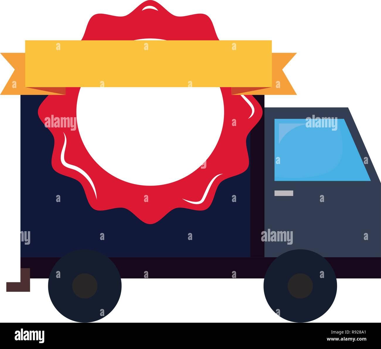 online shopping truck badge ribbon vector illustration Stock Vector