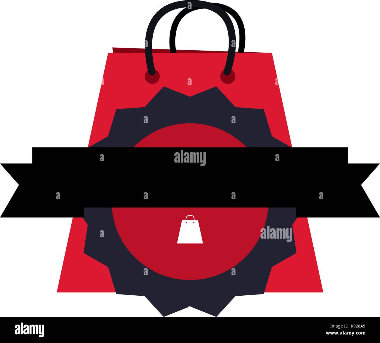 online shopping bag badge ribbon vector illustration Stock Vector ... 80a8c4a0bf620