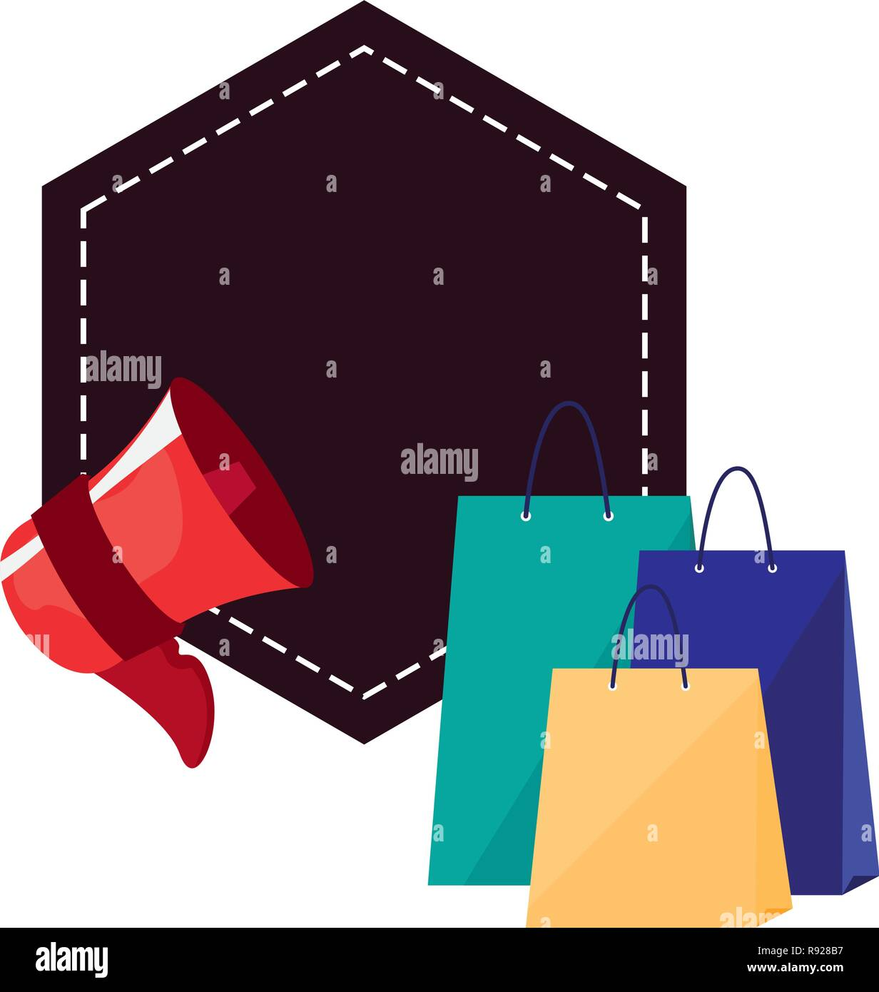 online shopping bags megaphone and label vector illustration - Stock Image