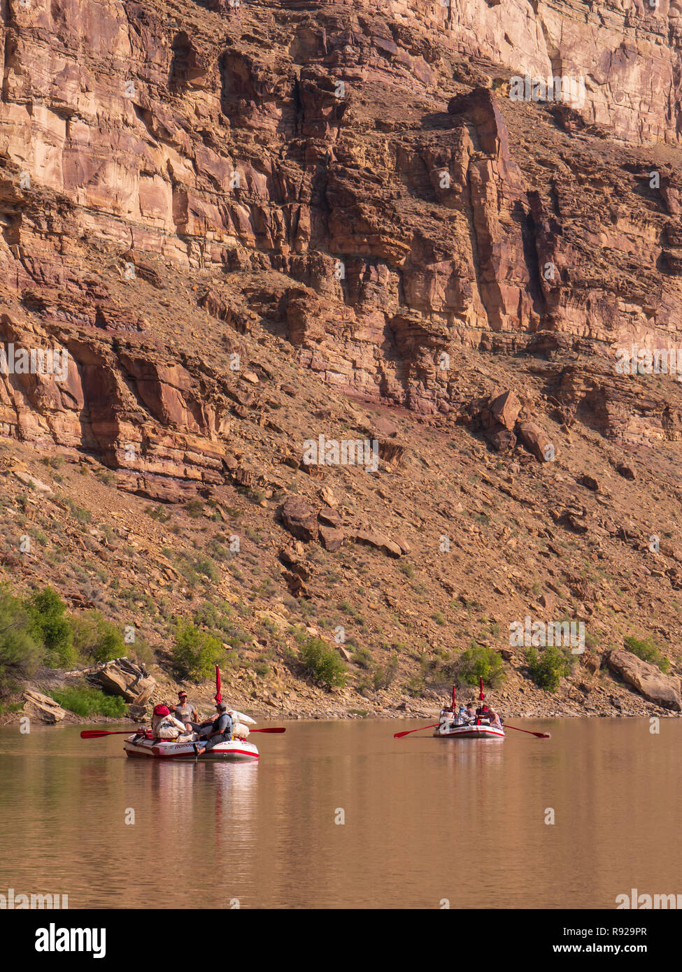 Floating down the river, upper Desolation Canyon north of Green River, Utah. - Stock Image