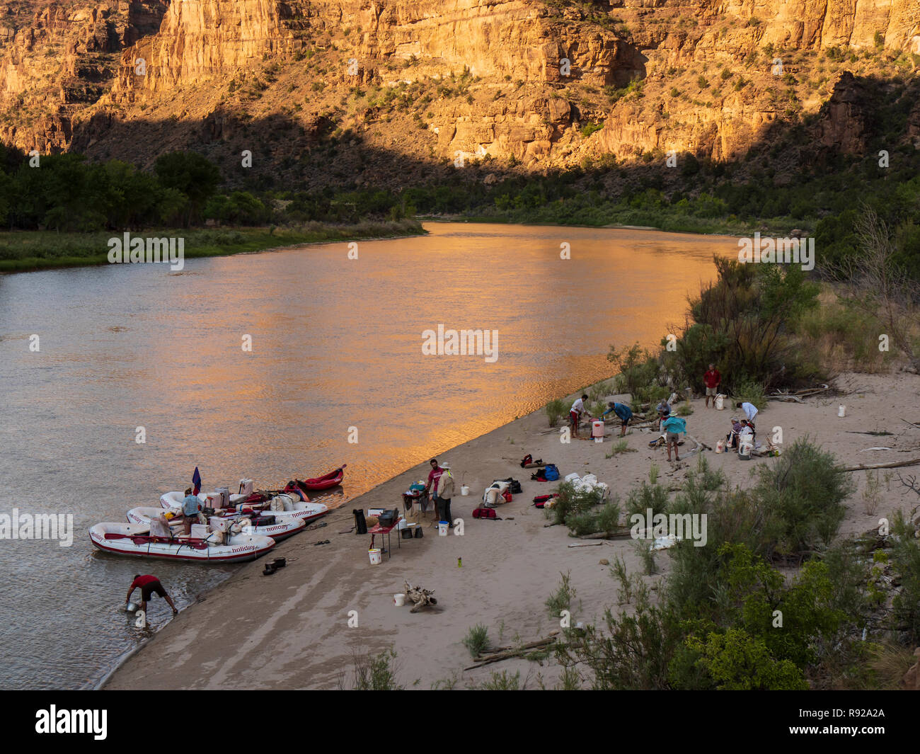 Lion Hollow campsite, Desolation Canyon north of Green River, Utah. - Stock Image
