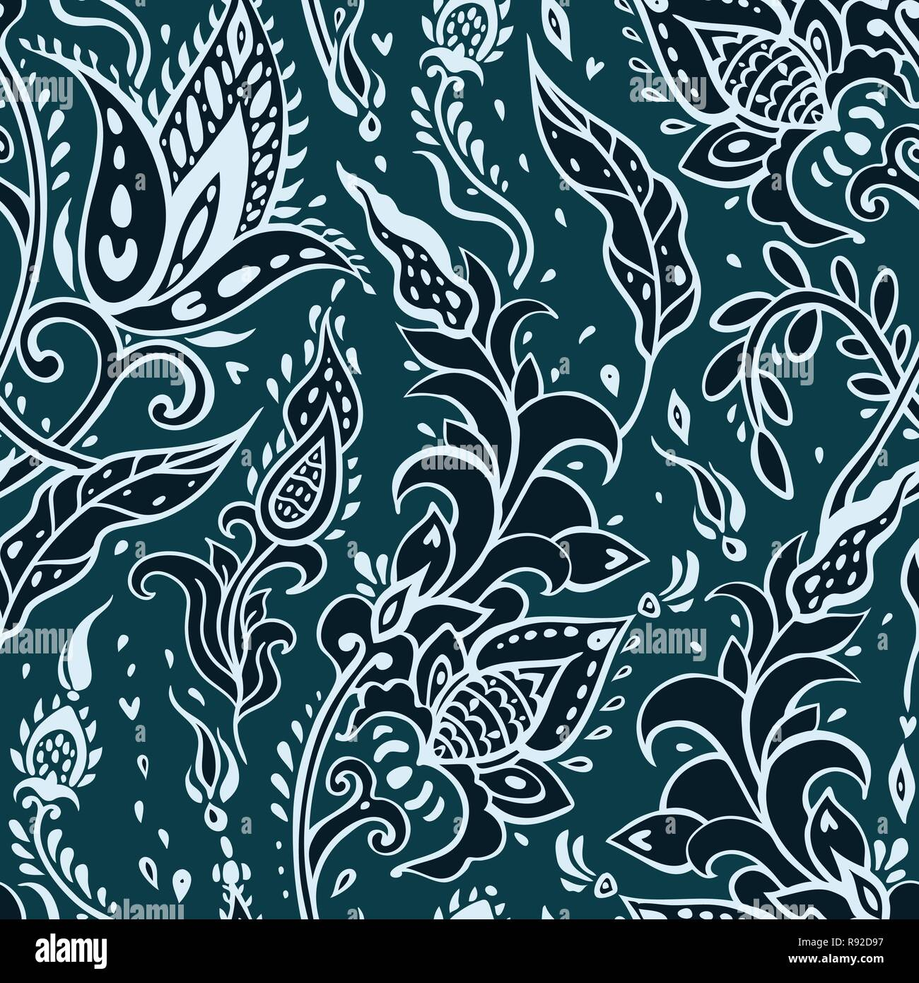 Paisley background. Vintage pattern with hand drawn Abstract Flowers. Seamless ornament. Can be used for wallpaper, website background, textile, phone