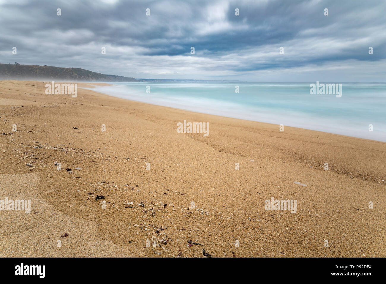 Tunquen Beach in Valparaiso region and close to Algarrobo, an awesome and wild beach with a lot of wildlife because of it wetlands and turquoise water Stock Photo