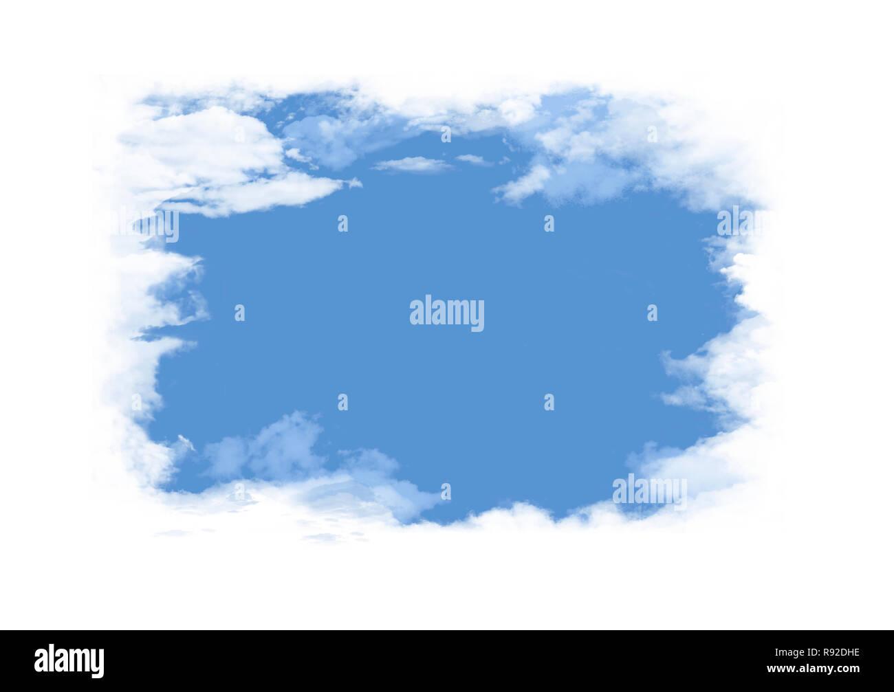 White fluffy clouds surround an opening that reveals clear blue sky where graphic elements or text may be placed.  This is an illustration. - Stock Image
