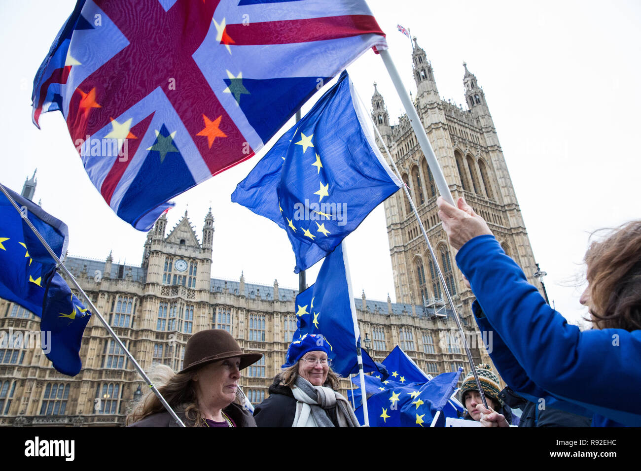 London, UK. 18th December, 2018. Pro-EU activists from SODEM (Stand of Defiance European Movement) protest opposite Parliament as Cabinet discuss 'No Deal' preparations. Credit: Mark Kerrison/Alamy Live News - Stock Image