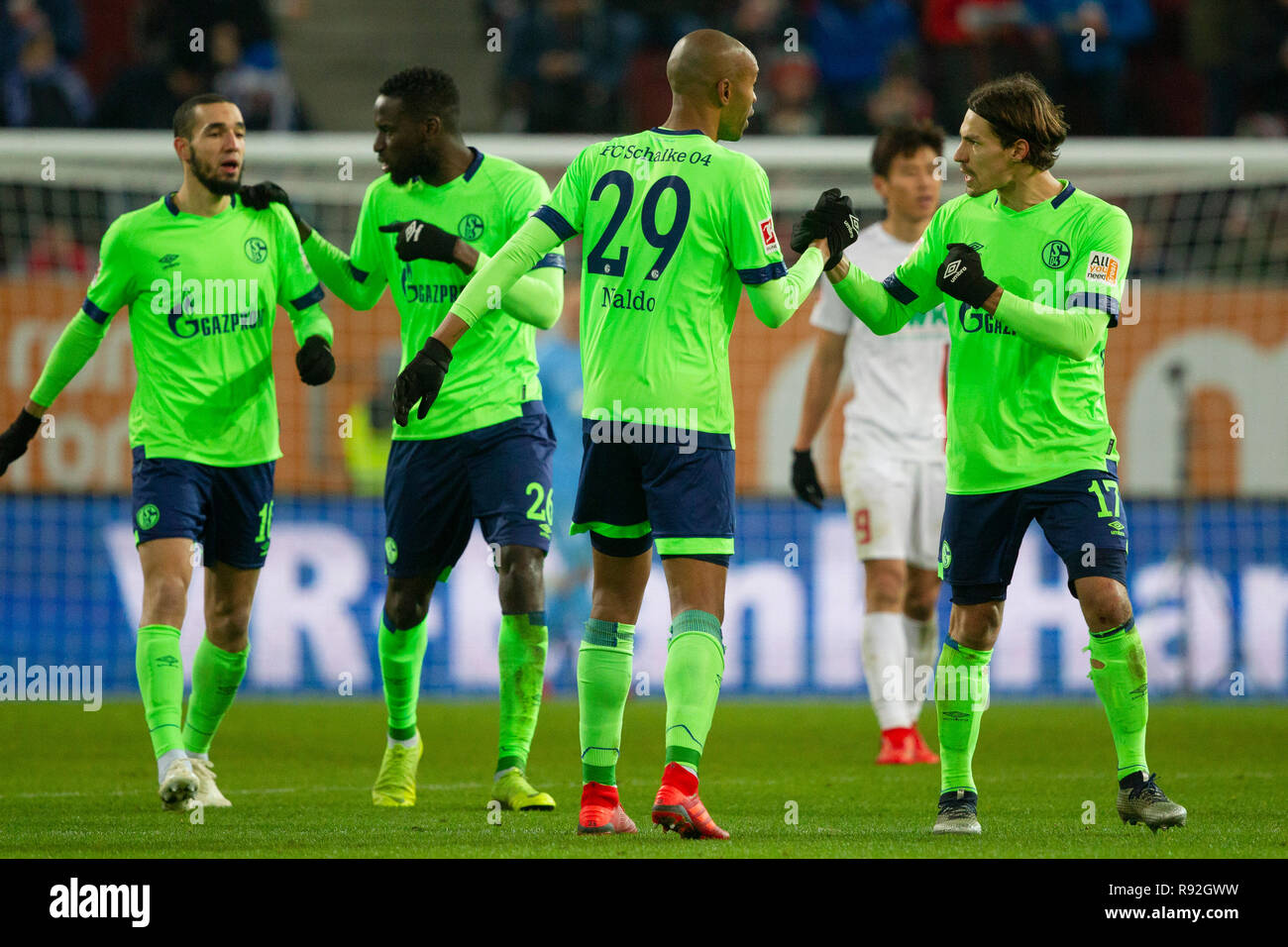 NALDO (# 29, GE) and Benjamin STAMBOULI (# 17, GE). Soccer, FC Augsburg (A) - FC Schalke 04 (GE) 1: 1, Bundesliga, 15.matchday, season 2018/2019, on 15/12/2018 in Augsburg/WWKARENA/Germany. Editorial note: DFL regulations prohibit any use of photographs as image sequences and/or quasi-video. ¬   usage worldwide - Stock Image