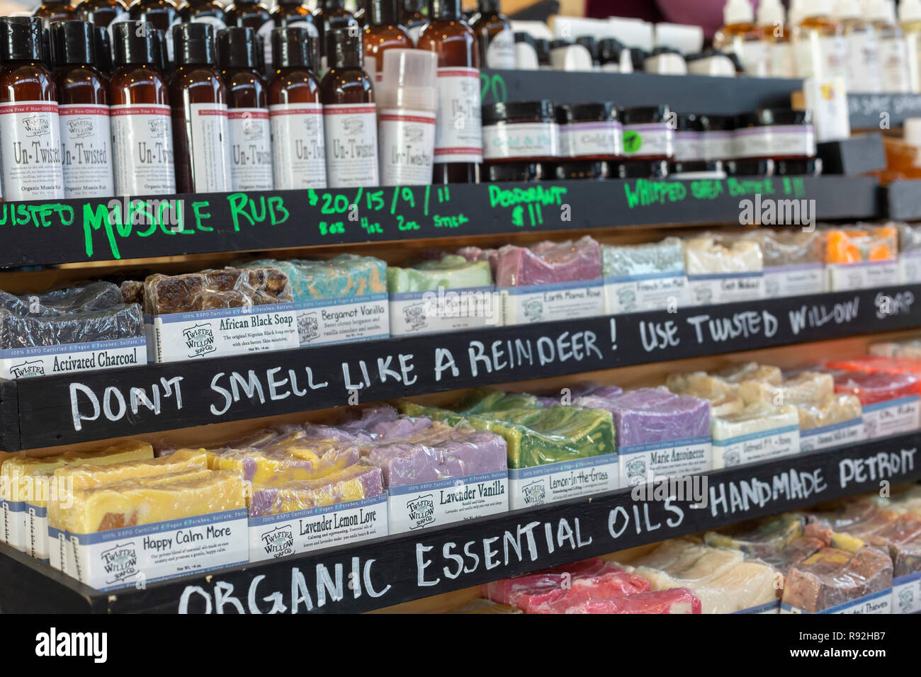 Detroit, Michigan USA - 18 December 2018 - Holiday gifts on sale at Detroit's Eastern Market. A maker of specialty soaps advertises, 'Don't smell like a reindeer!' Credit: Jim West/Alamy Live News - Stock Image