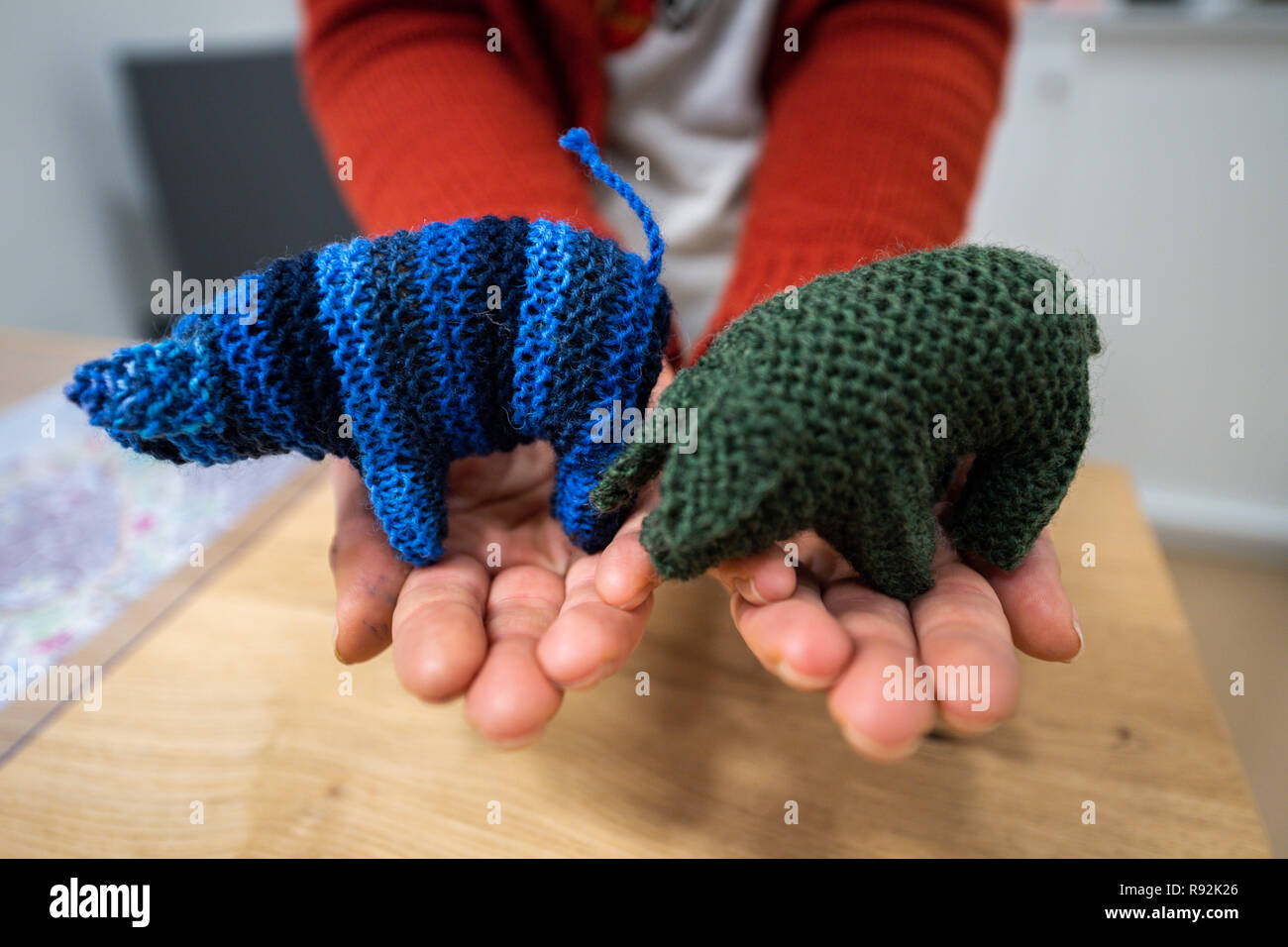 """Oldenburg, Germany. 18th Dec, 2018. A woman is holding small wool piglets called Kohlfietjes in her hands. Senior women in a housing project produce these by hand. (to dpa """"From Steckenpferd to Löwenhelm - this is how Niedersachsen markets itself"""" from 19.12.2018) Credit: Mohssen Assanimoghaddam/dpa/Alamy Live News Stock Photo"""