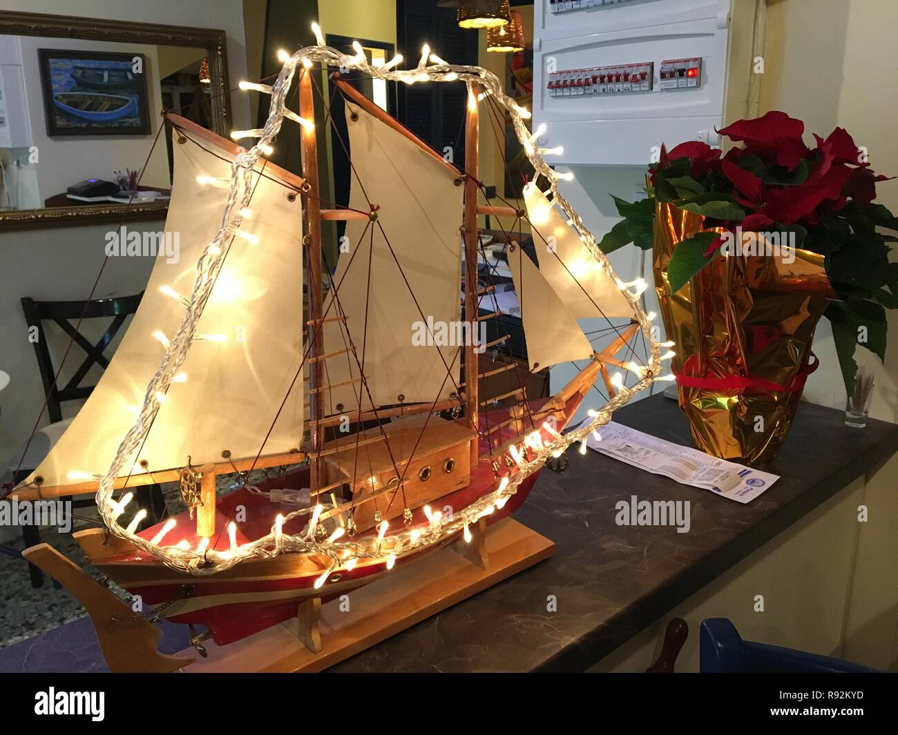 Athen Greece 08th Dec 2018 A Boat Decorated With Christmas Lights Stands