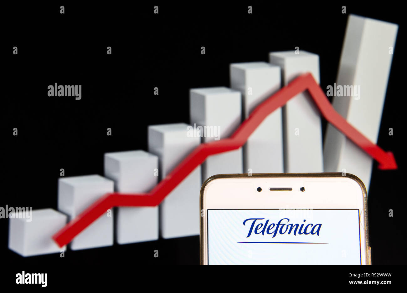 Hong Kong. 14th Dec, 2018. Spanish multinational telecommunications company Telefonica logo is seen on an Android mobile device with a decline loses graph in the background. Credit: Miguel Candela/SOPA Images/ZUMA Wire/Alamy Live News - Stock Image