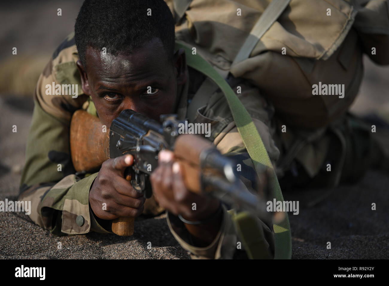 A Djiboutian soldier with the Rapid Intervention Battalion during infantry tactics and procedures training taught by U.S. Forces December 18, 2018 near Djibouti City, Djibouti. - Stock Image