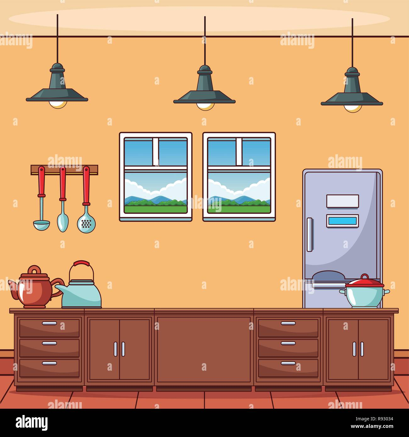 Kitchen with utensils - Stock Vector