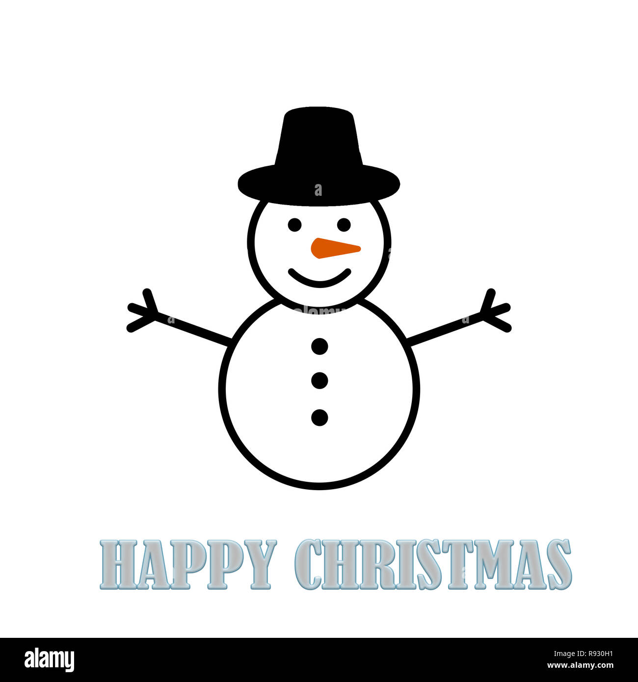 00382303c2951 Snowman wearing flat cap on a white background. Happy Christmas ...