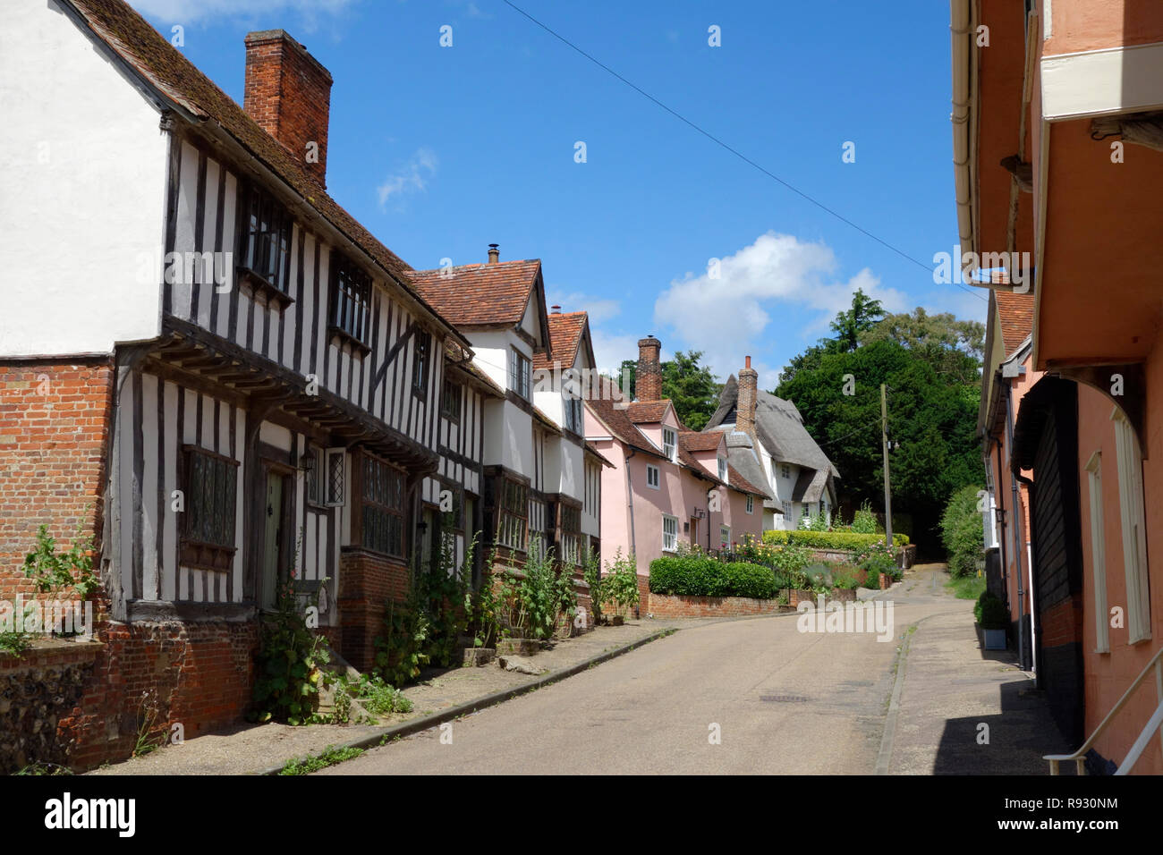 Timber-framed houses in the Street, Kersey, Suffolk - Stock Image