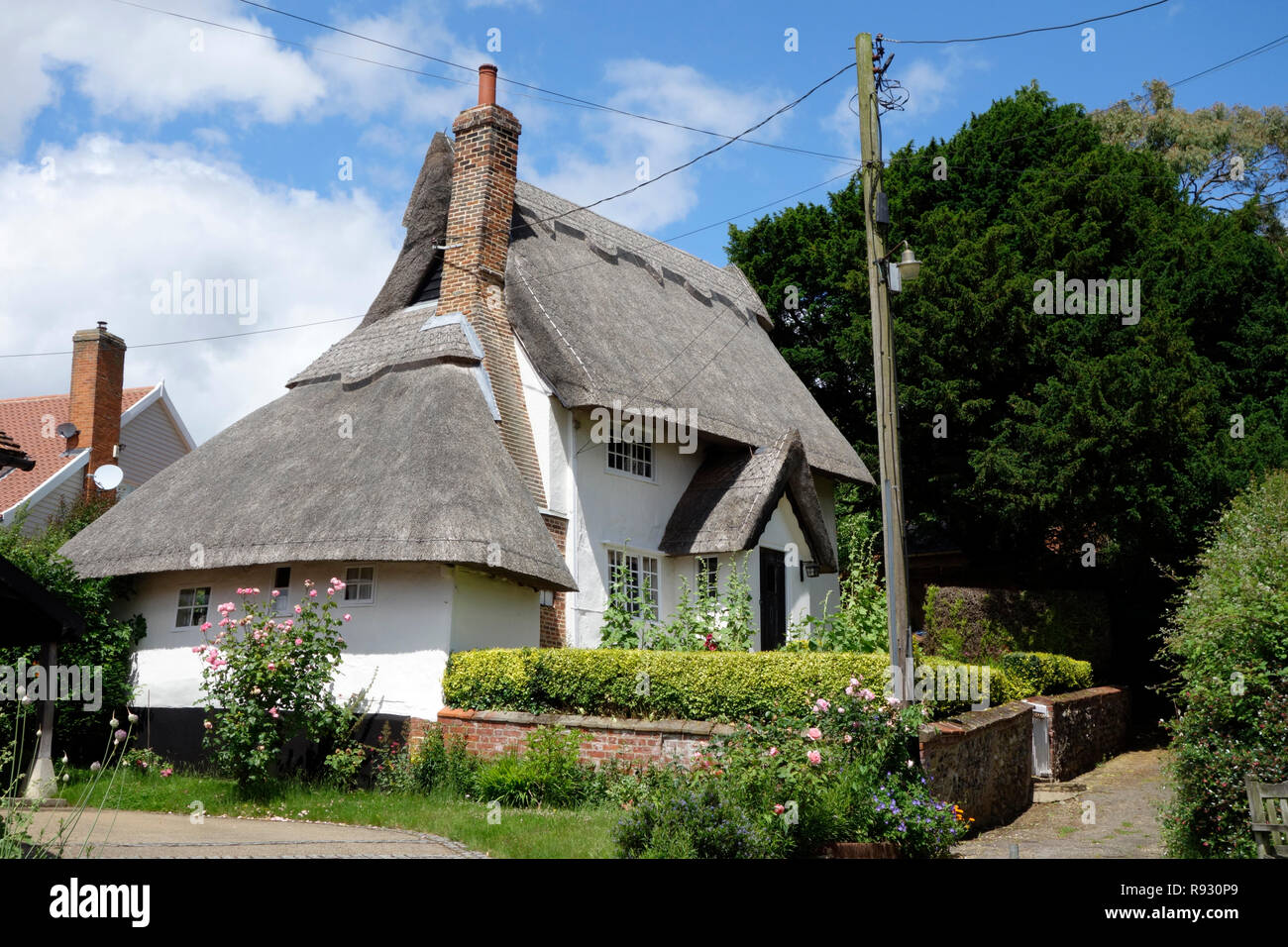 Thatched cottage at the top of the Street, Kersey, Suffolk - Stock Image