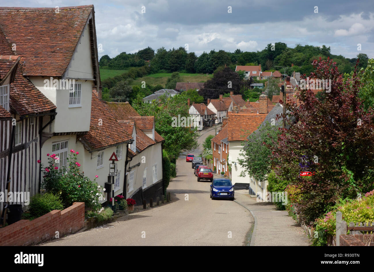 Cottages along Church Hill in the village of Kersey, Suffolk - Stock Image