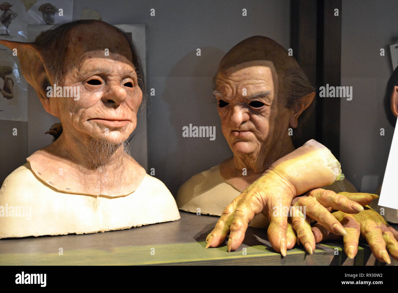 Masks of the goblin bankers at the Harry Potter Studios at Leavesden, London, UK - Stock Image