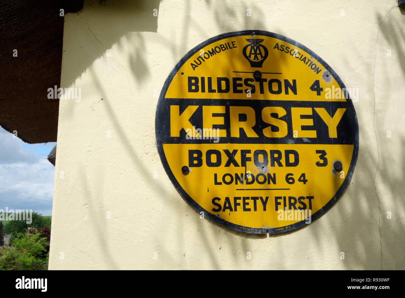 Vintage AA sign for the village of Kersey, Suffolk - Stock Image