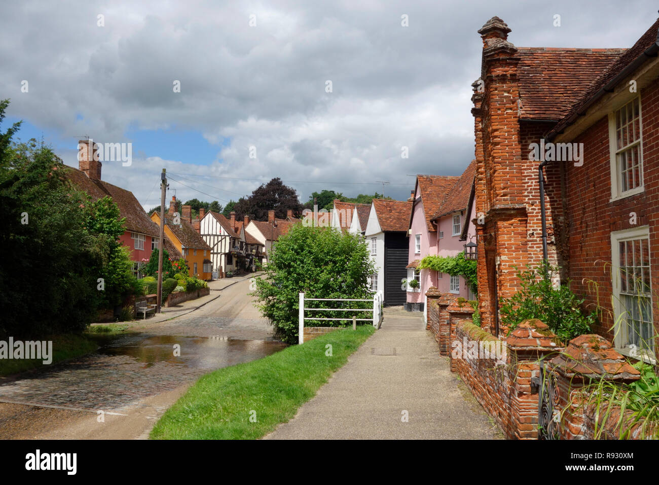 The ford in the centre of the village of Kersey, Suffolk - Stock Image