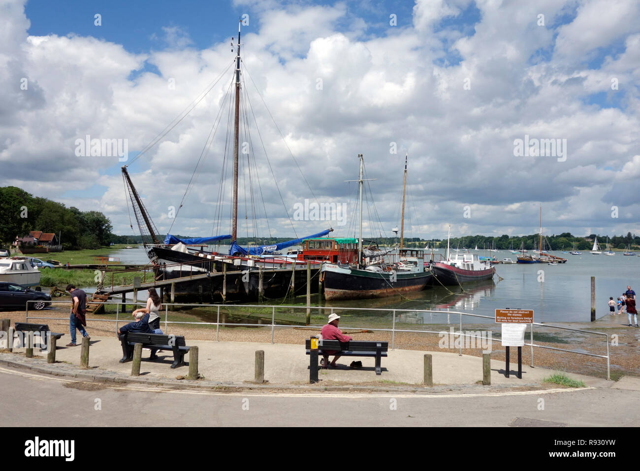 The quayside in the village of Pin Mill, Suffolk - Stock Image