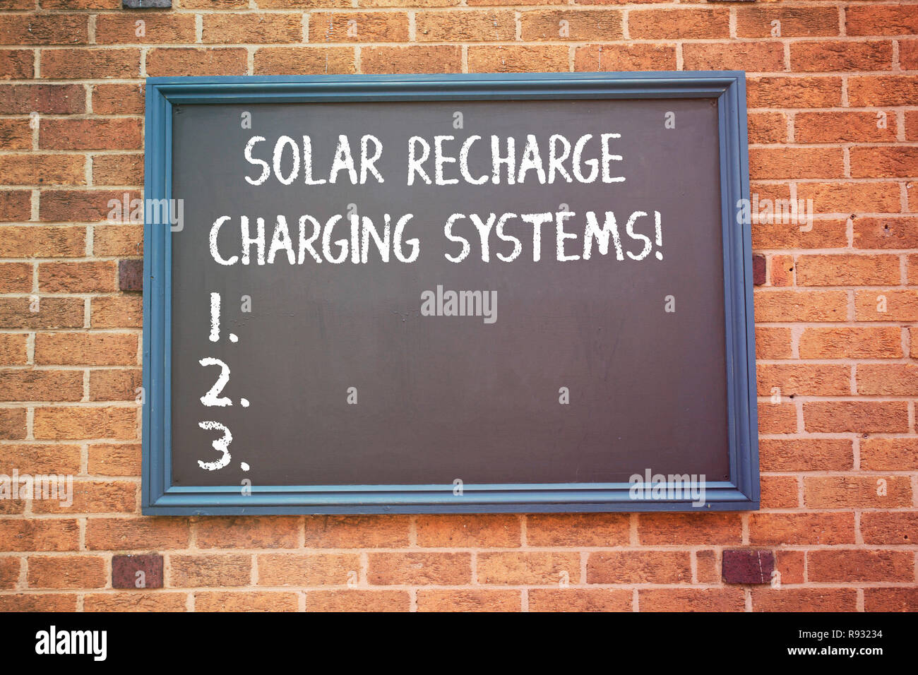 Word writing text Solar Recharge Charging Systems. Business concept for New innovative alternative energy supplies - Stock Image