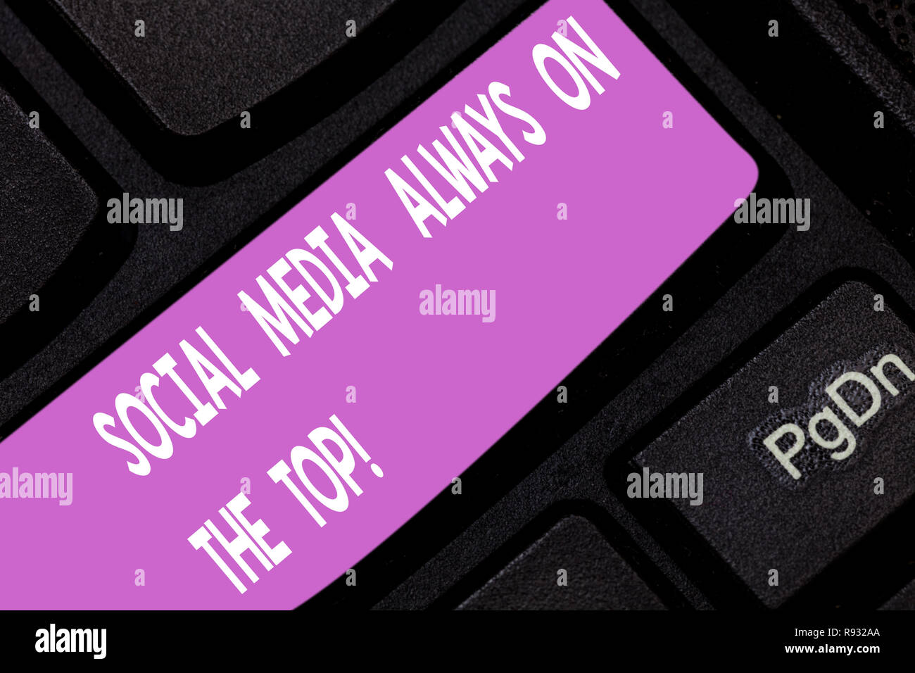 Text sign showing Social Media Always On The Top. Conceptual photo New digital communication technologies Keyboard key Intention to create computer me - Stock Image