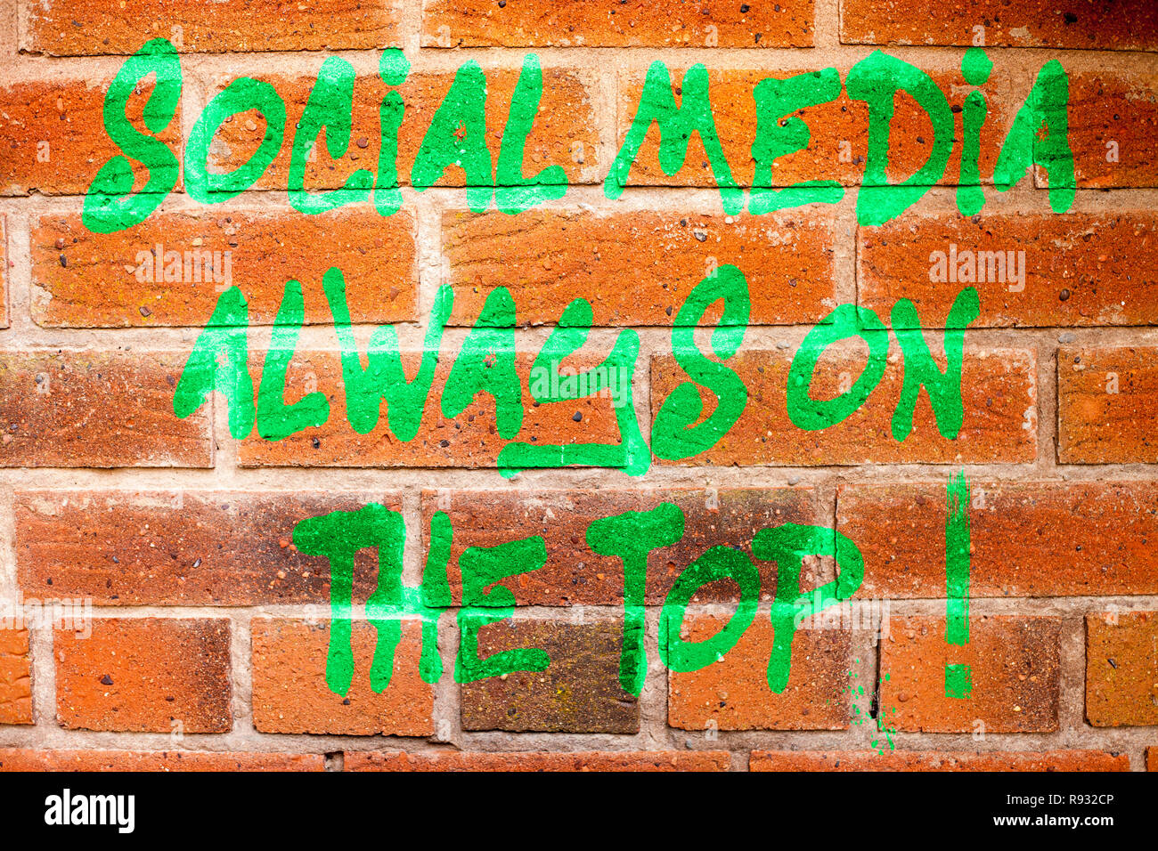 Writing note showing Social Media Always On The Top. Business photo showcasing New digital communication technologies - Stock Image