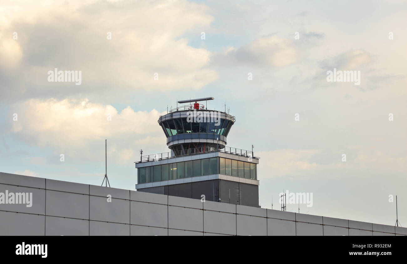 Prague, Czech Republic - July 28th, 2018: Air traffic control tower at Ruzyne Vaclav Havel international airport which handles 15 millions passengers  Stock Photo