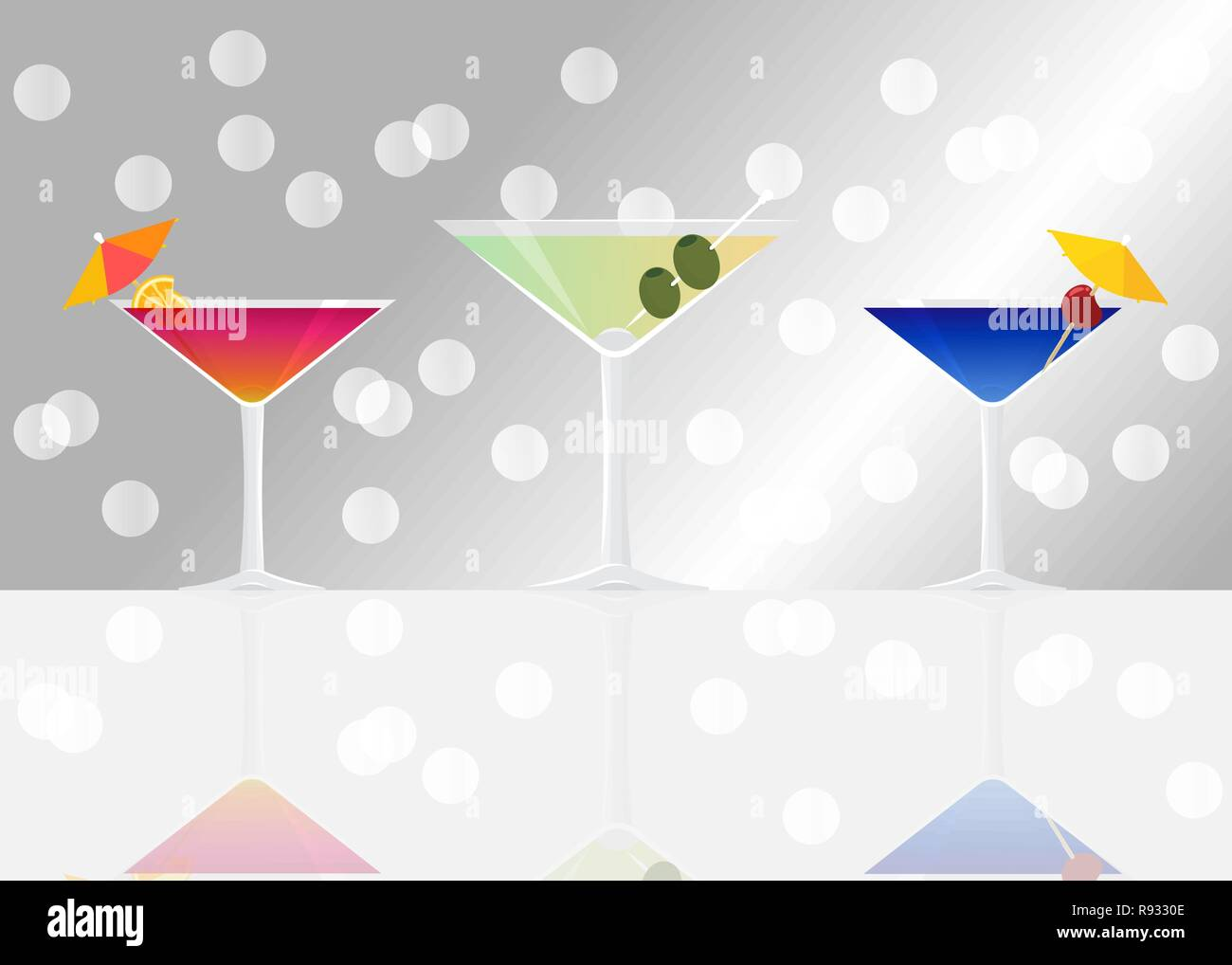 Manhattan Cocktail Dry Martini And Blue Lagoon On Silver Mirrored Background With Bokeh Vector Illustration For Web And Print Party Invitation Or Stock Vector Image Art Alamy
