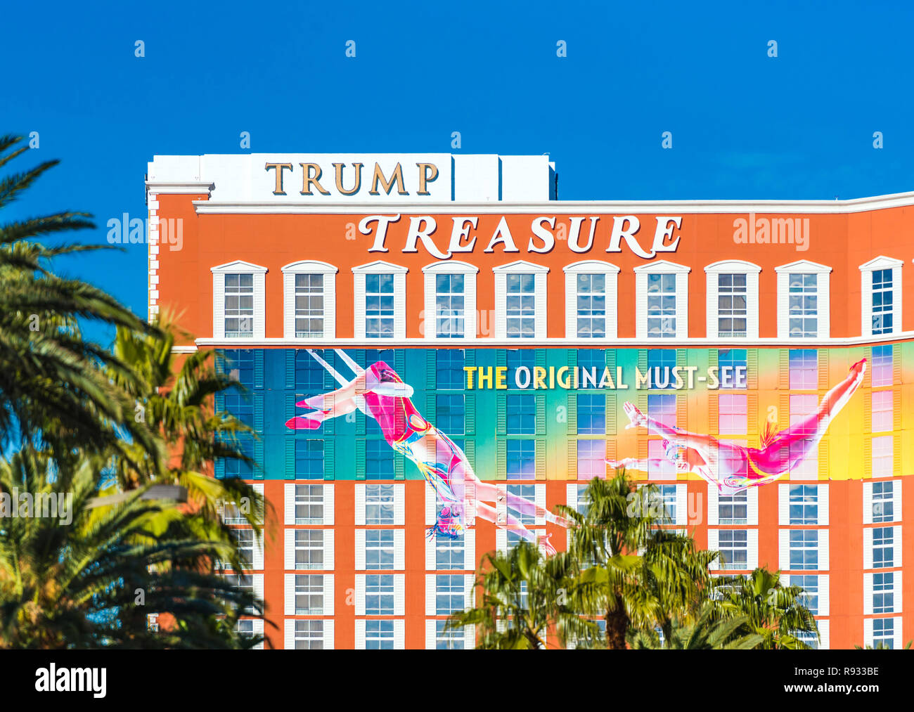 LAS VEGAS, USA - JANUARY 31, 2018: View of the facade of the hotel building Trump Treasure. Isolated on blue background Stock Photo