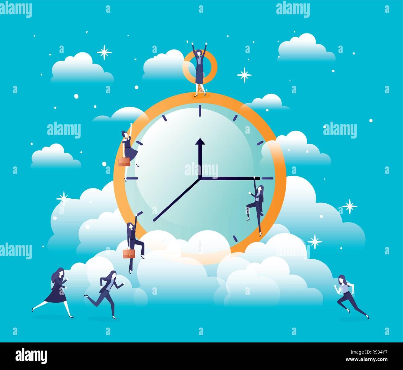 chronometer timer with businesswomen - Stock Image