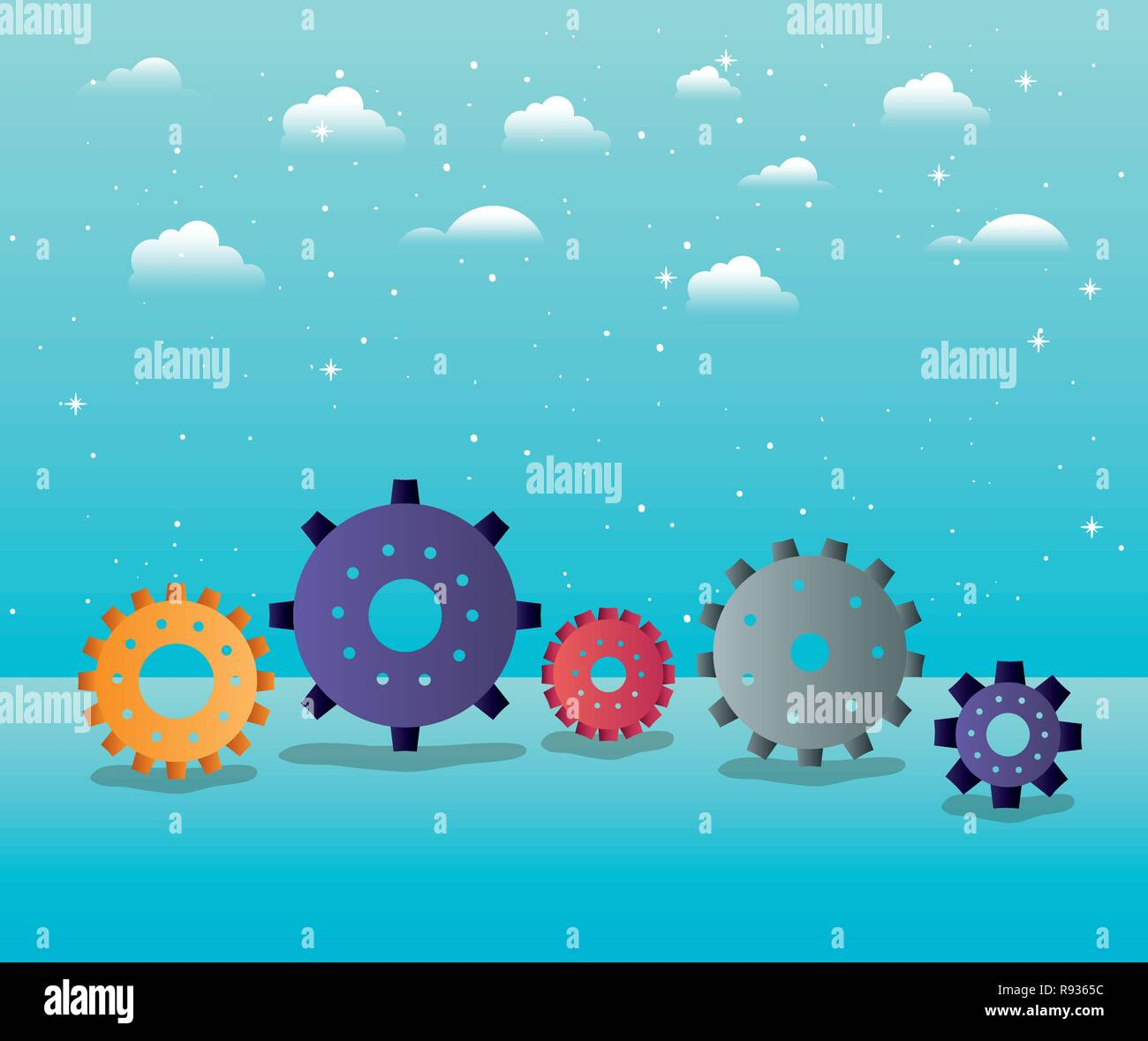 gears machinery in the sky - Stock Vector