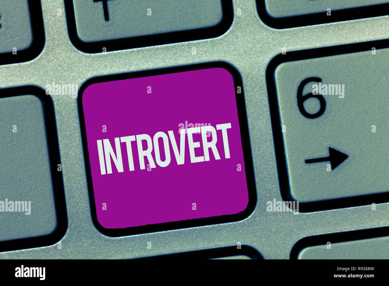 Text sign showing Introvert. Conceptual photo tend to be inward turning or focused more internal thoughts. - Stock Image