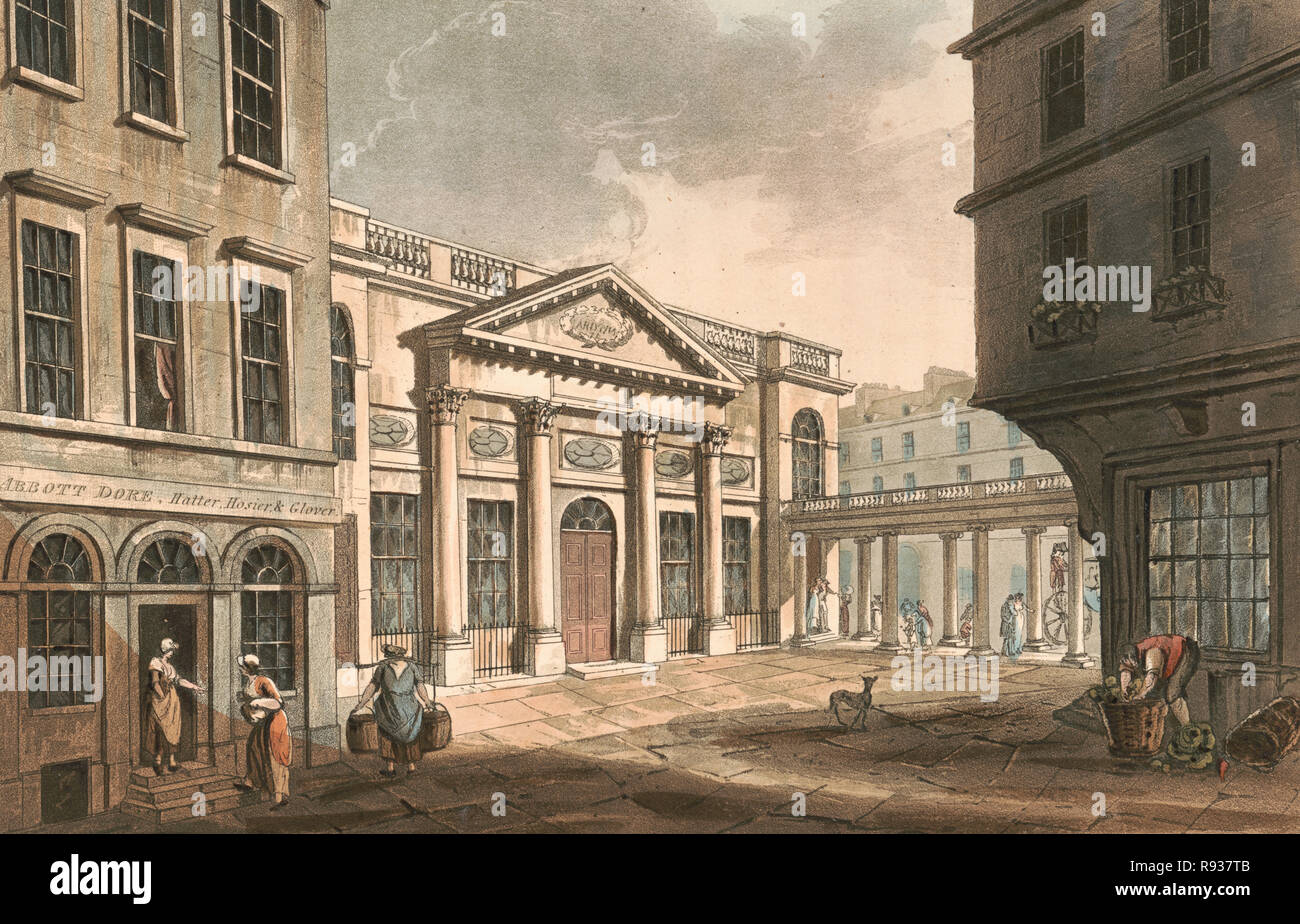 Bath - the pump room - Print shows street scene in Bath, England, with view of the Pump Room, circa 1800 - Stock Image