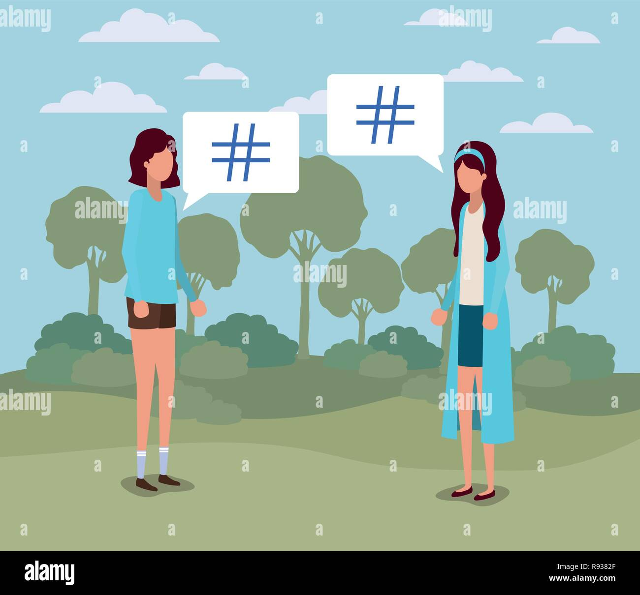 young women with pound key in speech bubble on the camp - Stock Image