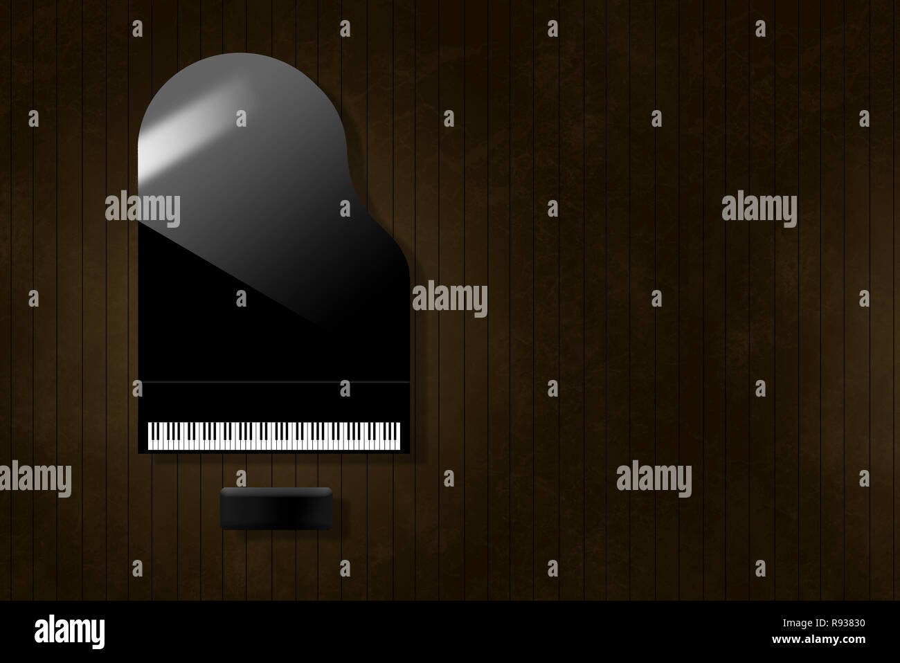 A black grand piano reflecting soft highlights is seen from above on an aged and distressed wooden stage floor. Keyboard gleams from the surrounding d - Stock Image