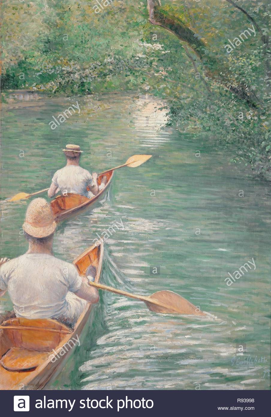 Perissoires-The canoes, 1878 Oil on canvas, 155 x 108 cm. Author: CAILLEBOTTE, GUSTAVE. Location: Musee des Beaux-Arts, Rennes, France. - Stock Image