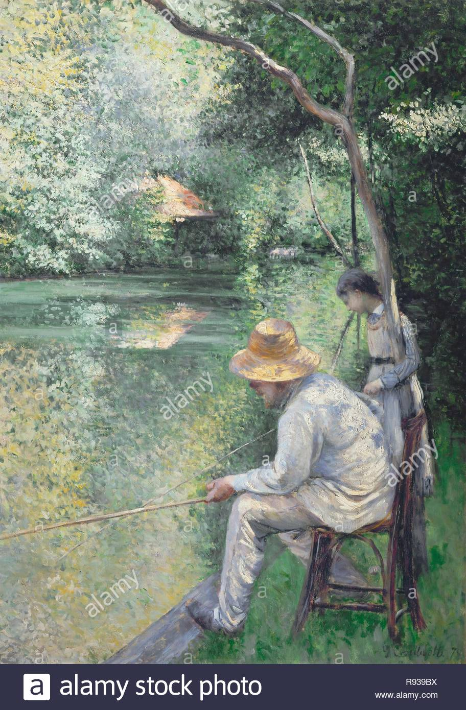 Peche a la ligne-Angling, 1878 Oil on canvas, 157 x 113 cm. Author: CAILLEBOTTE, GUSTAVE. Location: Private Collection,, France. - Stock Image