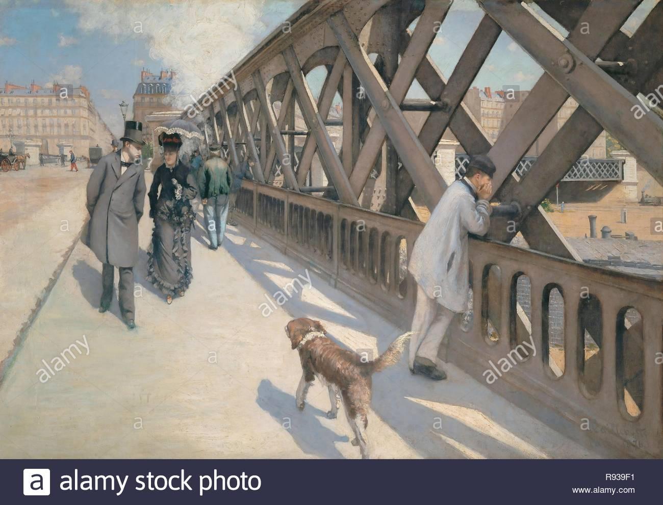 Le Pont de l'Europe, Paris, 1876 Oil on canvas 125 x 180 cm. Author: CAILLEBOTTE, GUSTAVE. Location: Musee du Petit Palais, Geneva, Switzerland. - Stock Image