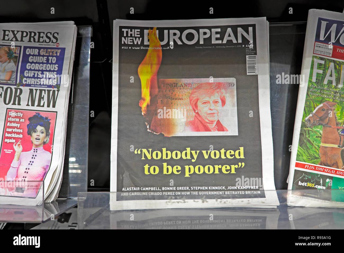 "The New European newspaper headline ""Nobody voted to be poorer"" November December 2018  London England UK Stock Photo"
